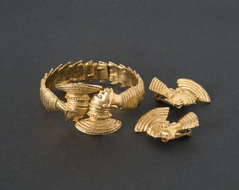 Vintage Hobe Fantasy   Clamper Bracelet and Earrings Demi Parure  Blackamoore