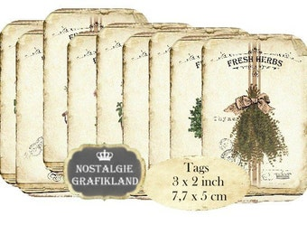Herbes French Tags Provence Herbs Download digital collage sheet digital Tags T067