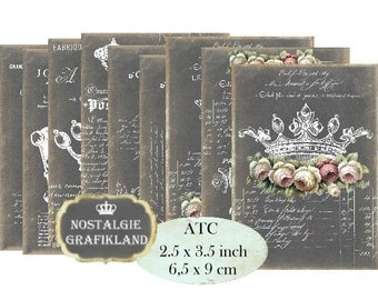 Chalkboard Crown Couronne Paris France French Instant Download ATC digital collage sheet S091