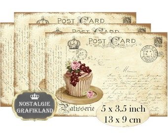French Patisserie Cupcakes Muffins Cakes Bakery Posrcards  Instant Download digital collage sheet P160