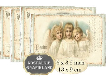 Shabby Chic Angels Christmas Pastel  Instant Download digital collage sheet P155