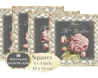 Flowers Shabby Chic Chalkboard Rosen Ornament Squares 4 x 4 inch Instant Download digital collage sheet tiles TG100