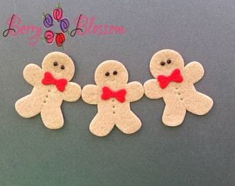 "Brown Gingerbread man felt 2"" inch - yy"