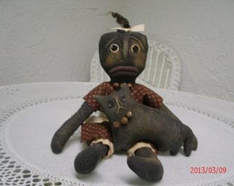 Primitive Black Folk Art Doll and Her Cat