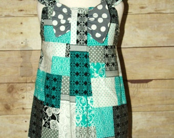 CLEARANCE~ Teal & Gray Bow Dress sz 2T