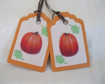 SALE Pumpkin Gift Tags, Fall Gift Tags, Thanksgiving Gift Tags, Thanksgiving Favor Bag Tags, Fall Treat Bag Tags, Orange Gift Tags,