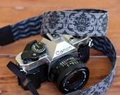Black camera strap - reversible camera strap - padded cotton strap - black chevron - gray floral - men women unisex - gift for photographer