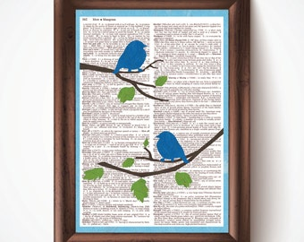 Bluebirds Defined Dictionary Page Print from Pastel Drawing