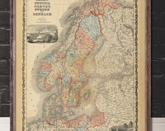 "Map of Scandinavia 1862, Vintage Scandinaviay map reprint - 4 sizes up to 48""x36""- in original or blue"