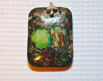 Sterling Silver Green Copper Turquoise Square Pendant #55555