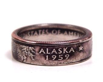 Size 7 1/2 Alaska State Quarter Coin Ring
