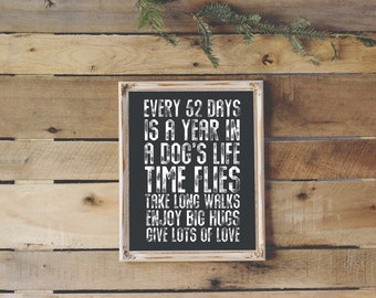 Dog lover print, INSTANT DOWNLOAD, every 52 days is a year for a dog, pet lover home decor, dog person wall art gift, life motto quotes