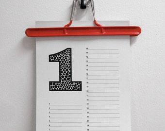 "Birthday Calendar ""Numbers"""