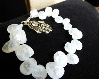 Hand and stone bracelet