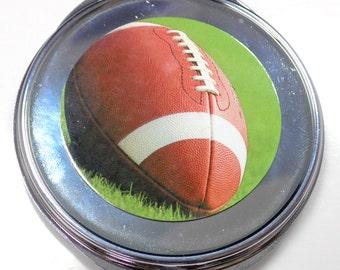 Football Inset Metal Compact Makeup Mirror Case MEN-0048