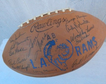 """Rawlings Football Signed by 1950s LA Rams - 39 Player Signatures - NFL Football Autograph Football from William """"Granny"""" Granholm Collection"""