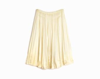 Ivory Silk Skirt / Accordion Pleat Skirt - women's medium