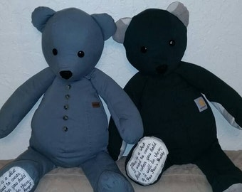 Memory Bears with embroidered memory patch.   Made with love.  Custom orders.