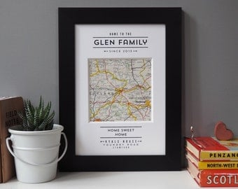 NEW HOME PRINT - vintage map house warming gift