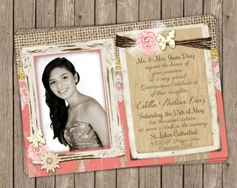 Quinceañera invitation, Butterfly, Coral and gold Quinceañera Photo invitation