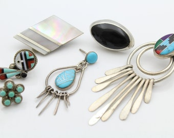 Lot of Six Southwest Single Unmatched Earrings Sterling Silver With Gemstones. [11403]