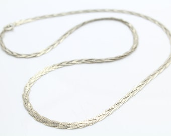 "Braided 17.5"" S-Link Necklace in Italian Sterling Silver. [8401]"