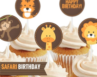 Safari cupcake toppers, to decor your birthday party. You can also use them as stickers or hanging tags - Printable PDF file.