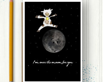 Congratulations Card, Funny Card, Animal Greeting Card, Moon Card, Cow Illustration, Quirky Card, I'm over the moon, Boy and Girl