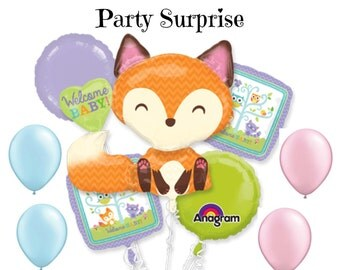 Baby Shower Woodland Balloons, Baby Boy Woodland Shower Balloons, Baby Girl Woodland Shower Balloons