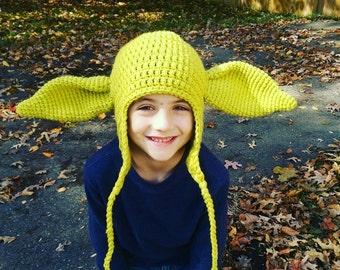 Crochet Yoda Inspired Earflap Hat