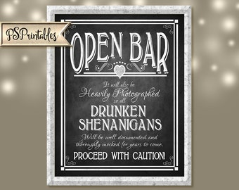 non-wedding OPEN BAR - sheningans wedding sign - 5x7, 8x10, 11x14,  - Instant download - Rustic Heart Chalkboard Collection