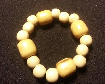 Light Wood & beige wood beads