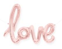 "Rose Gold Love Balloon - 40"" Script - ( Blush Pink Gold Mylar Foil Love Balloons ) - Wedding, Bridal Shower, Bachelorette Party Light Pink"