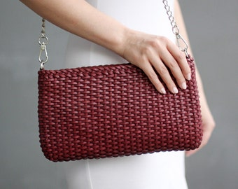 Free shipping! Leather bag, maroon bag, braided bag, woven bag, leather crossbody, maroon crossbody, shoulder bag, burgundy bag, red bag