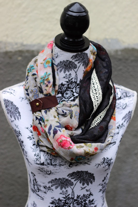 artisan infinity reversible scarf leather and lace floral