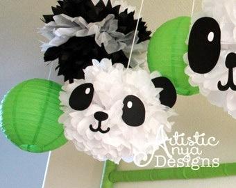 Panda Faces Kit – Set of 3 Panda Faces- Black and White - Photo Booth Panda Party Decor - Baby Panda Nursery