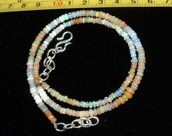 Ethiopian Welo Opal Necklace! Multi Opals! Artistic, Colorful~Adjustable Length. 100%  Earthmined.