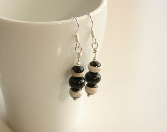 Handmade Natural Gemstone Silver Black and Cream Agate Earrings
