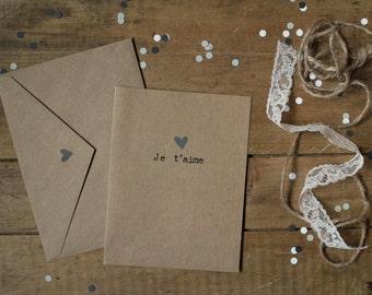 Valentine Card : «Je t'aime» - Gray Heart