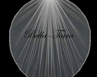 crystal beaded edge wedding veil, crystal wedding veil, crystal edge wedding veil, beaded veil, pearl crystal veil