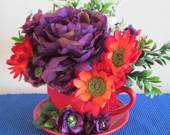 Purple Flowers, Red Ceramic Cup, Summer Flowers, Summer Floral Arrangement, Centerpiece,Purple,Orange, Green,White Flowers, Daisy, Boxwood
