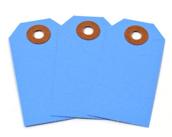 "50 Blue Shipping Tags-2-3/4"" Long X 1-3/8"" Wide-Paper Gift Tags-Blue Hang Tags-Packaging Supplies"