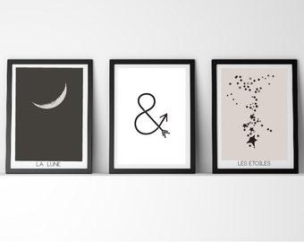 3 x The moon & stars Vintage Inspired La Lune Le Etoiles Poster Prints