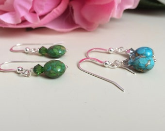 Green Turquoise Earrings - Blue Turquoise Dangles - Blue Turquoise Earrings - Green Turquoise Dangles - Summer Jewelry - Everyday Earrings