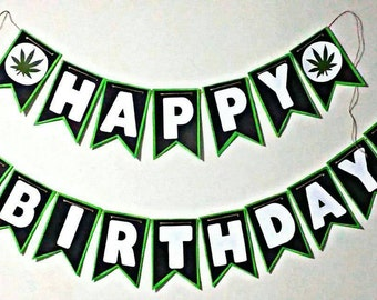 Cannabis leaf birthday banner | 420 Banner