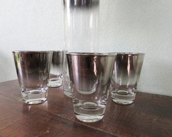 Silver fade glassware set,4 shot glasses & tall decanter,madmen ombre barware, shiny silver bullet chrome 60s glassware,silver shot glasses,