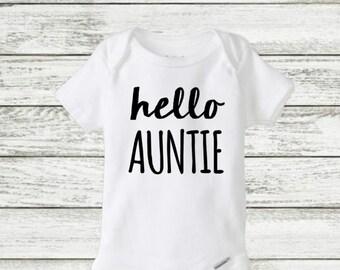hello Auntie onesie, pregnancy announcement onesie