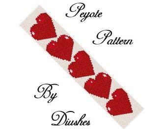 Peyote Beading pattern Bracelet Hearts red Heart Even count  peyote Seed bead pattern Beaded patterns Beadwork beadweaving patterns white