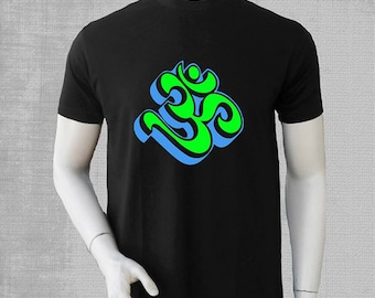men Tshirt with 3D OM  glow print