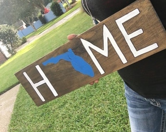 State home sign, State sign, Home sign with State, Wooden home sign, wood home sign, Florida State, wooden state sign, wood state sign